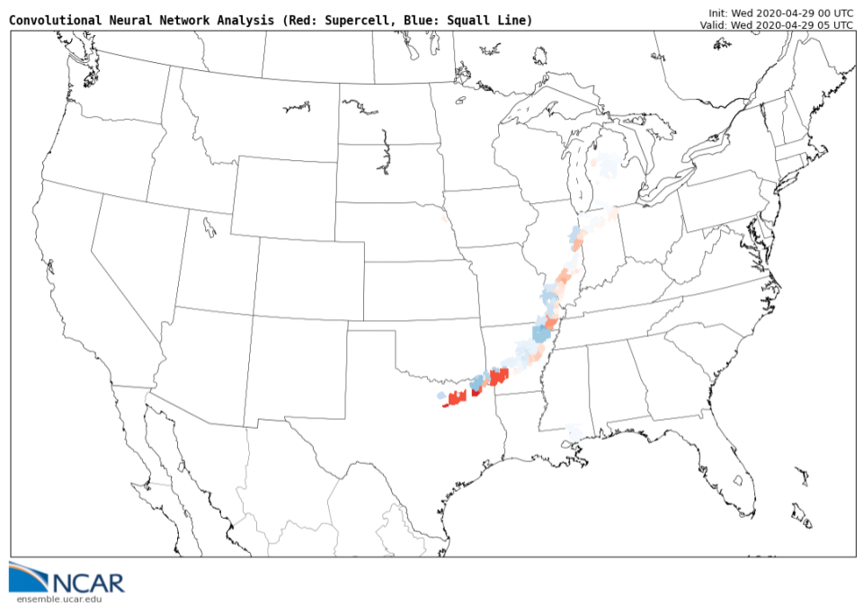 real-time visualization identifying supercells and squall line segments for forecasters