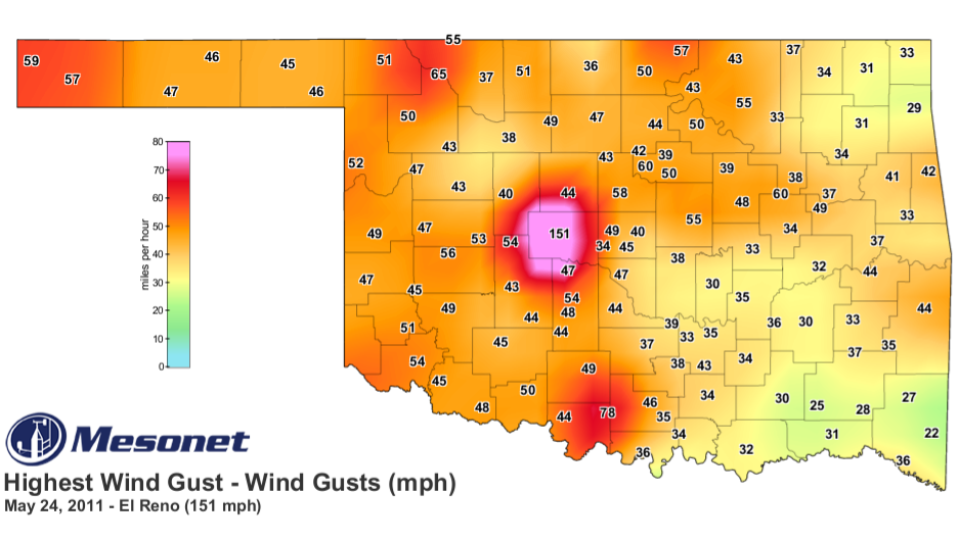 Map of Oklahoma Mesonet highest wind gusts by county