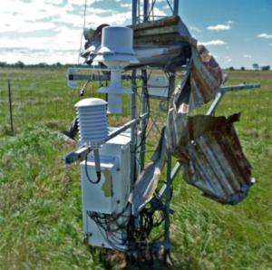 damaged MESONET wind station